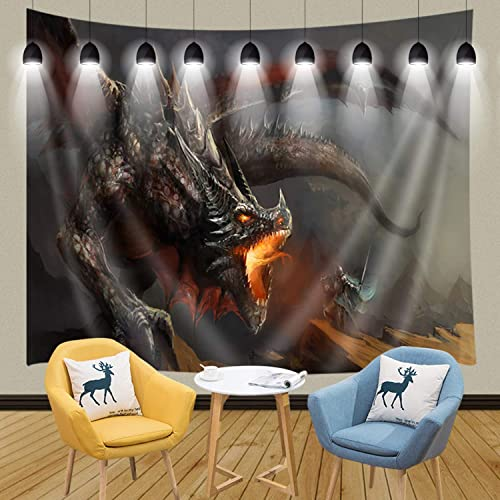 JAWO Fantasy Scene Wall Tapestry, Knights Hunting Dragon Medieval Animals Mythology Themed Art, Wall Hanging Tapestries for Home Decor Dorm Decor Living Room Bedroom Bedspread Beach Towel 90x70inches