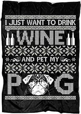 "COLUSTORE Drink Wine Soft Fleece Throw Blanket, Pet My Pug Fleece Luxury Blanket (Large Fleece Blanket (80""x60"") - Black)"