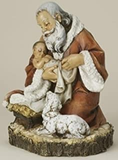 roman 115 josephs studio kneeling santa with baby jesus christmas figure