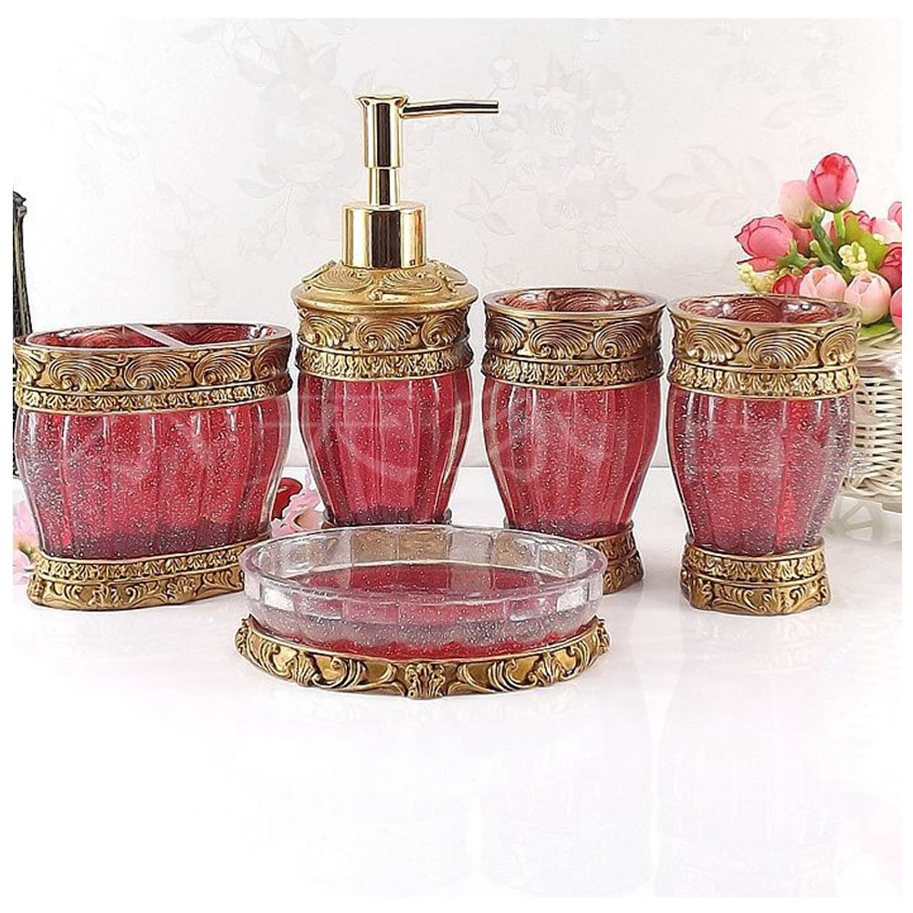 Vintage Red Bathroom Accessories, 5Piece Bathroom Accessories Set, Bathroom Set Features, Soap Dispenser, Toothbrush Holder, Tumbler & Soap Dish - Golden Glossy - Bath Gift Set