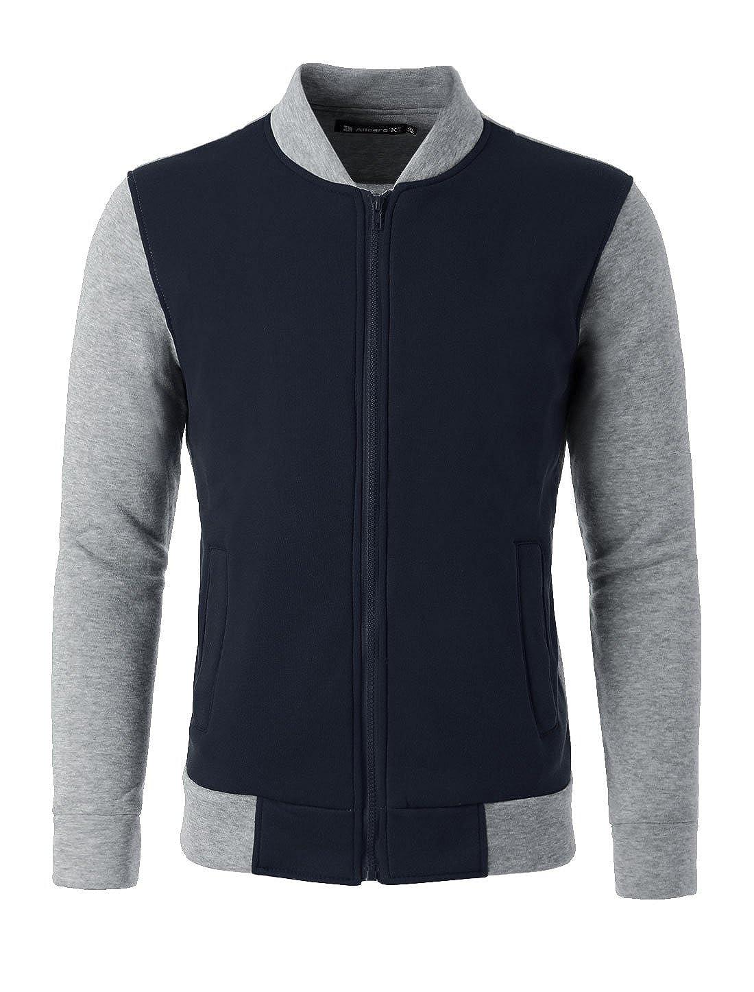 Allegra K Men Color Block Stand Collar Zipper Front Cozy Outdoor Varsity Jacket uxcell g15072900ux0011