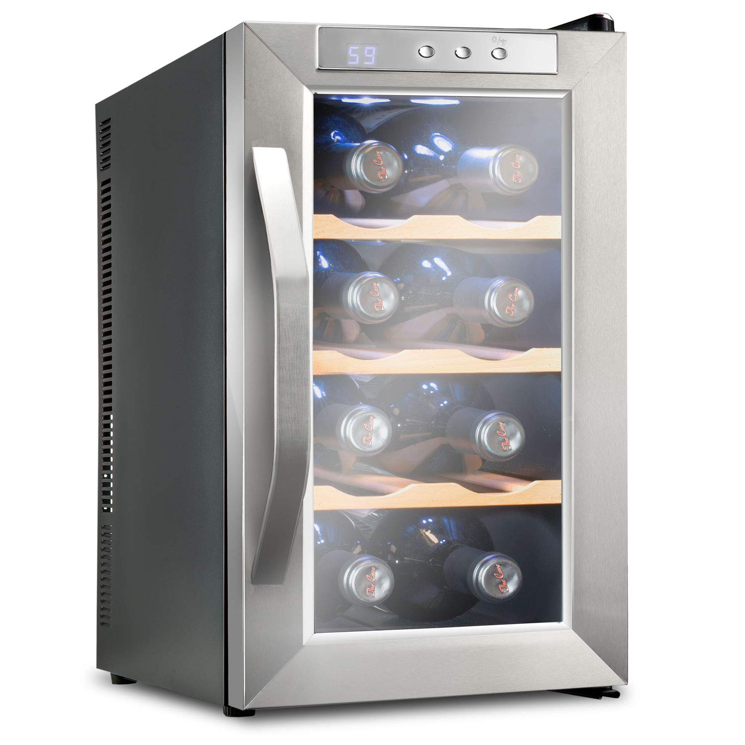 Ivation Premium Stainless Steel 8 Bottle Thermoelectric Wine Cooler/Chiller Counter Top Red & White Wine Cellar w/Digital Temperature, Freestanding Refrigerator Glass Door Quiet Operation Fridge IV-FWCT081WSS