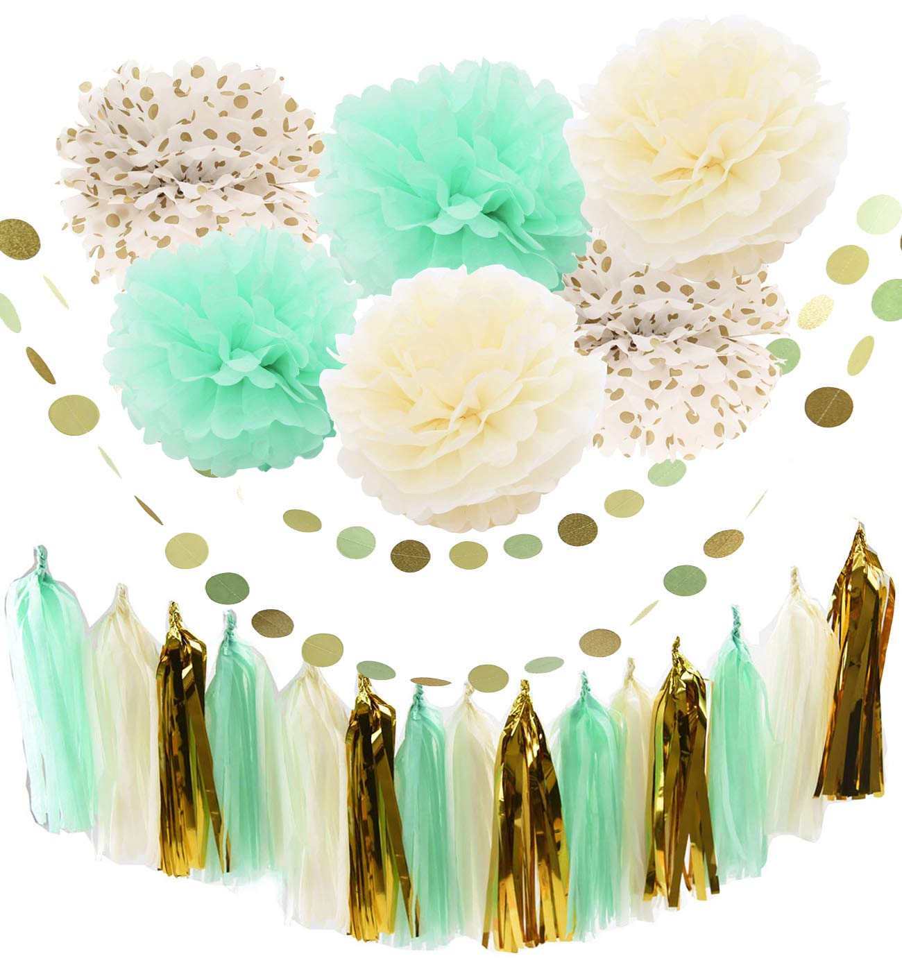 20pcs Mint Cream Gold Party Decoration Kit With Tissue Paper Tassel Garland Tissue Paper Flower Circle Garland for Rustic Wedding Baby Shower, Birthday Party, Nursery Decoration furunxin FBA_MCG-Series