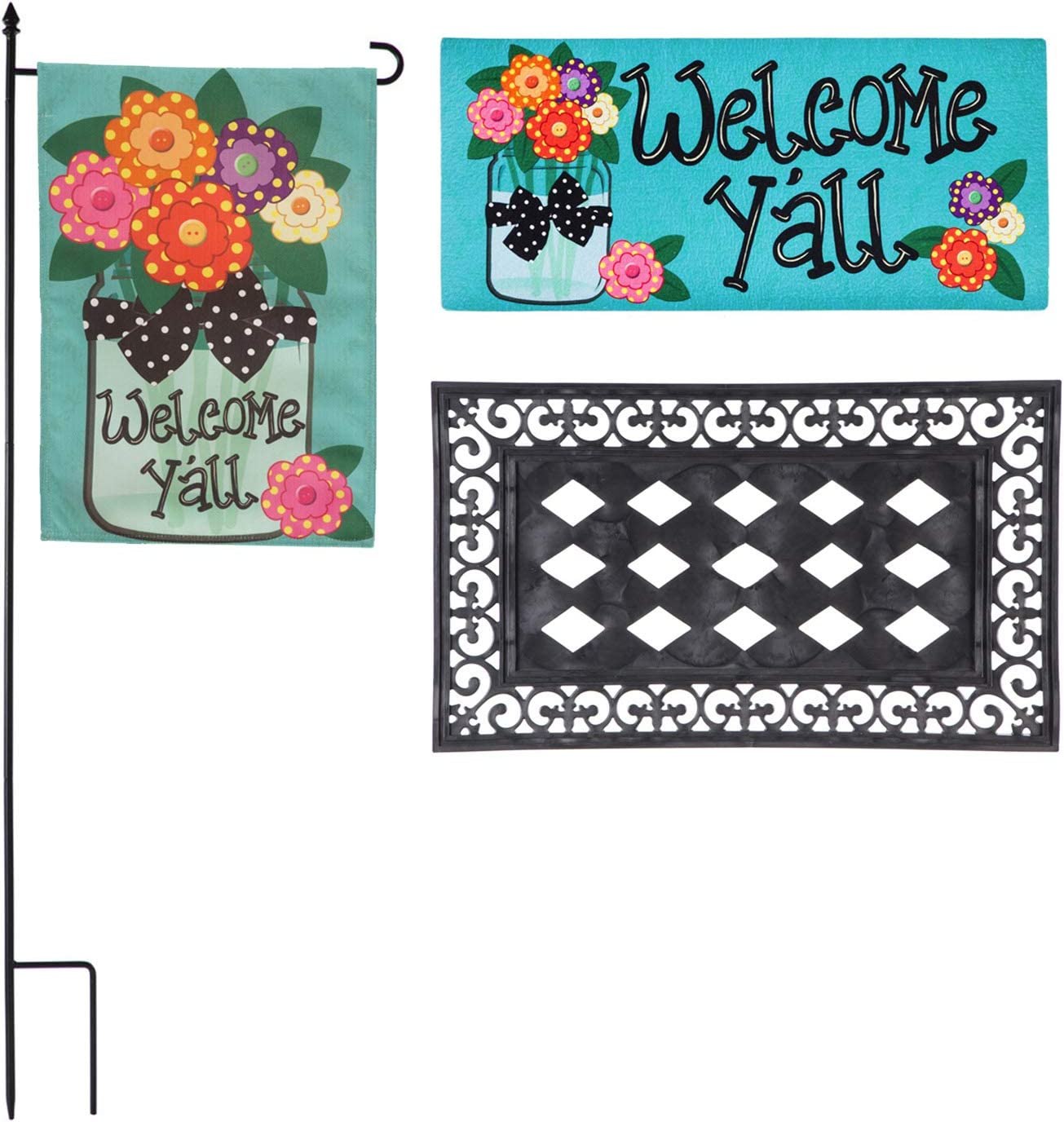 "Evergreen Flag ""Welcome Y'all, Spring and Summer Outdoor Décor Set for Your Patio, Porch or Garden. Beautifully Made Floral Garden Flag, Matching Door Mat and Mat Tray, Set of Three"