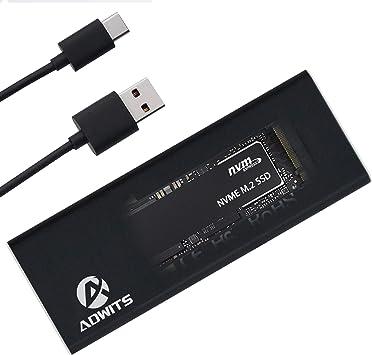 ADWITS USB 3.1 Gen2 10Gbps Tipo-C a NVMe M.2 Adaptador SSD PCIe de ...