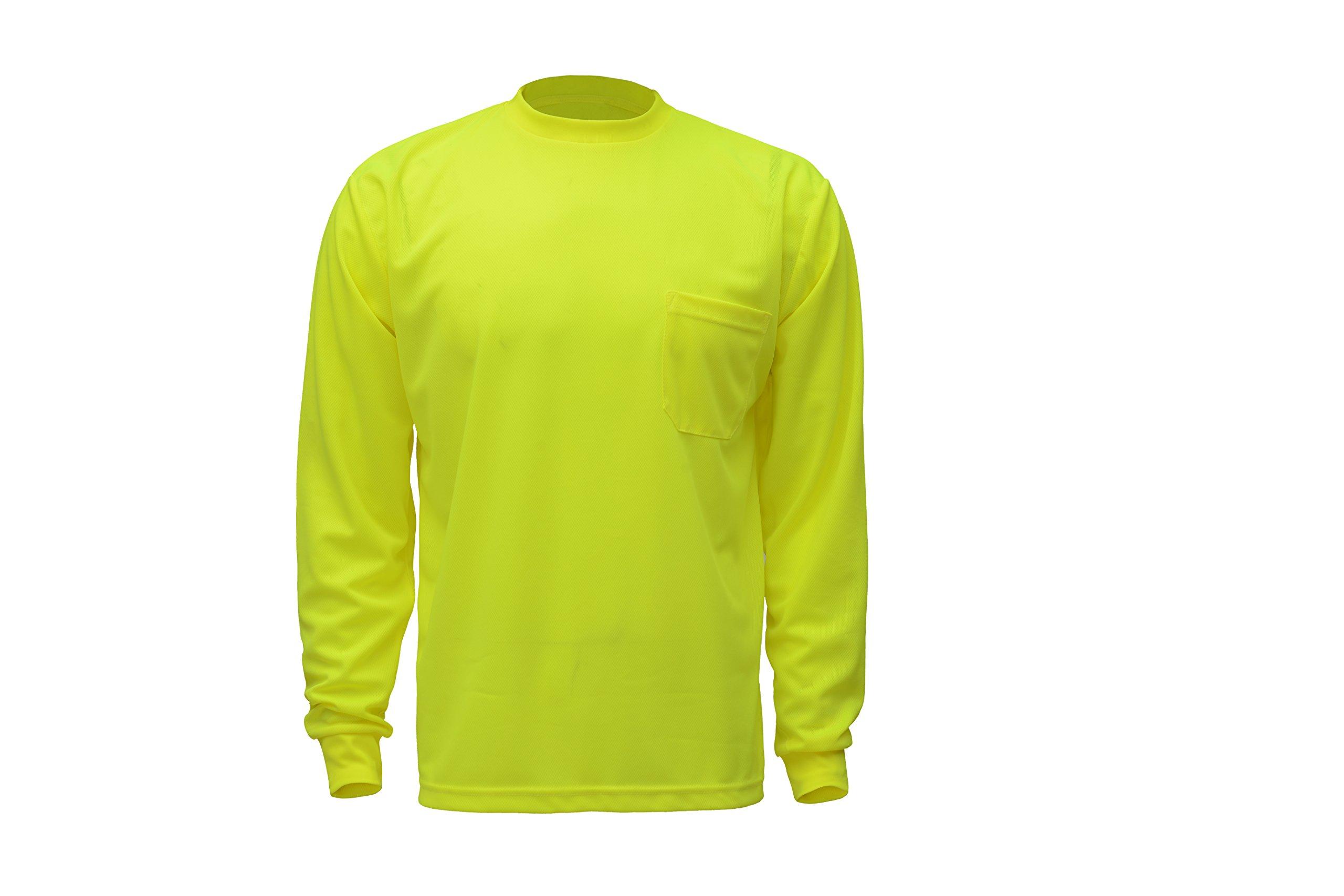 CJ Safety CJHVTS0002 High Vis Long Sleeve Safety Shirt | Moisture Wicking Birdseye Mesh | Chest Pocket (2XL, Green)