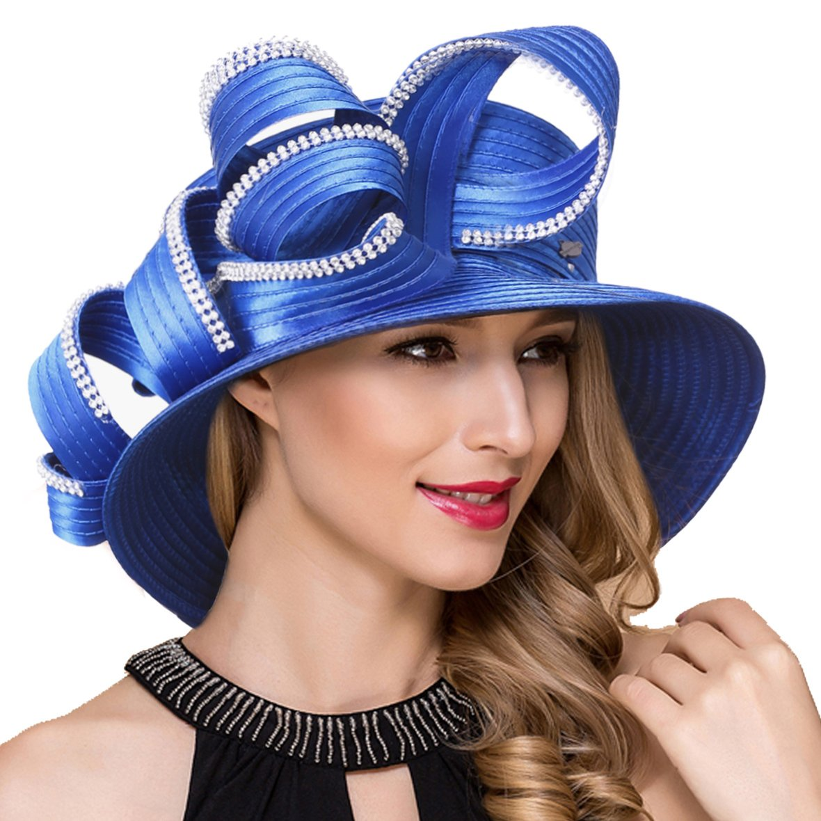 Lady Church Derby Dress Cloche Hat Fascinator Floral Tea Party Wedding Bucket Hat S051 (SD708-Royal Blue)