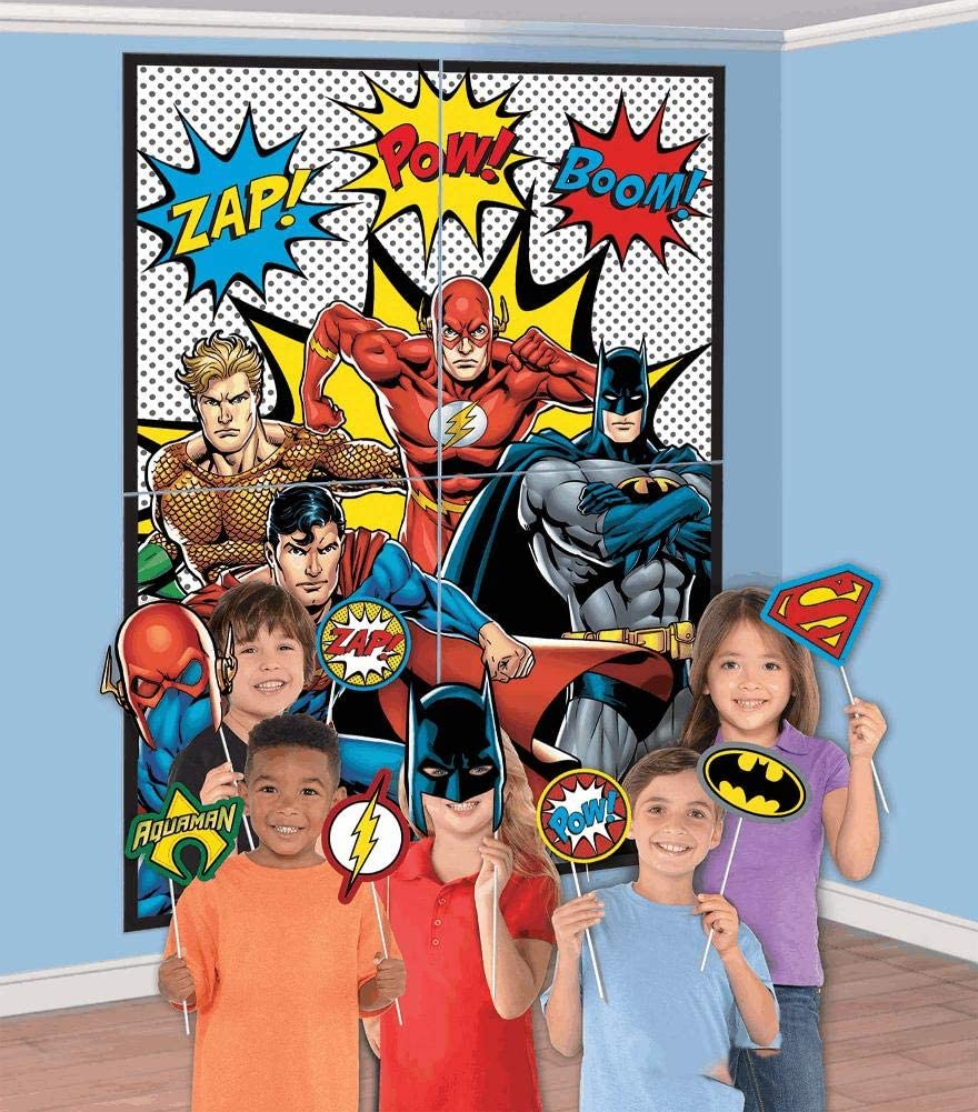 amscan Justice League Scene Setter with Photo Props Kit 16 pcs.