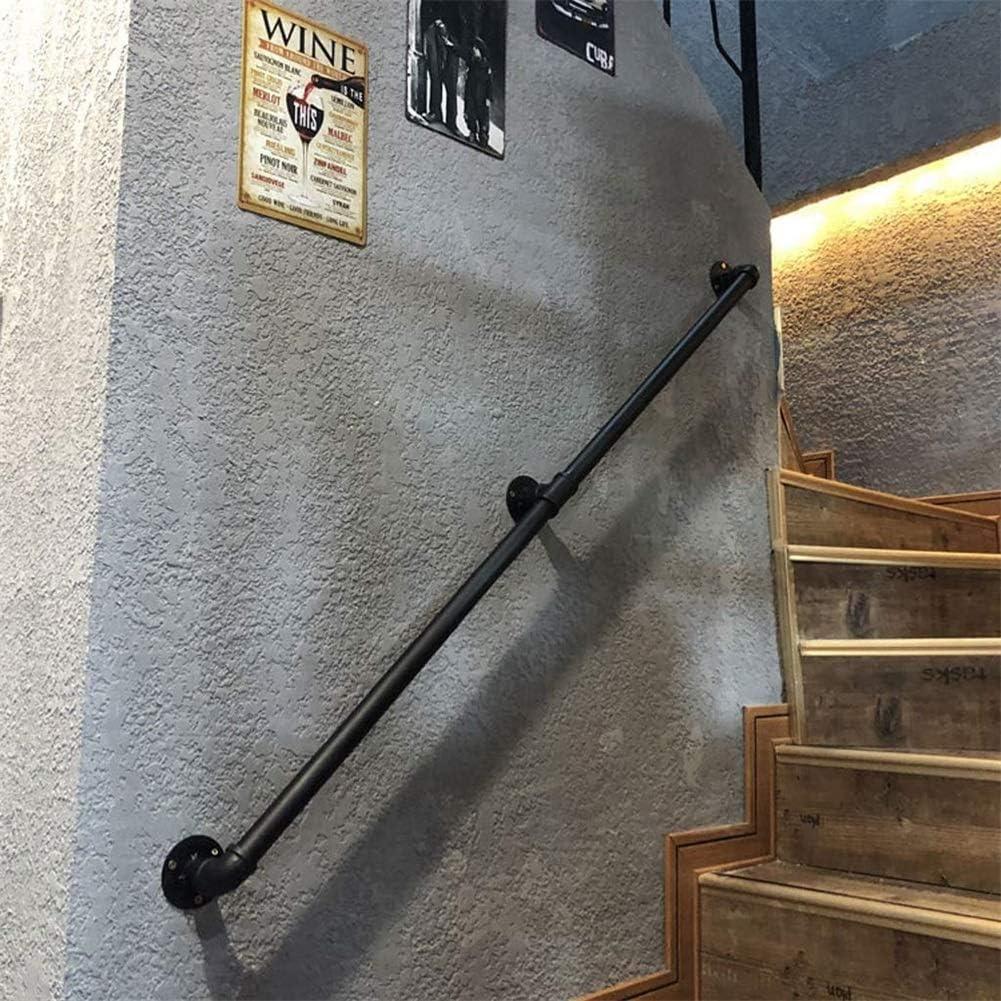 6,1 m Rails en fer forg/é antid/érapants 4 m Maison contre le mur int/érieur loft personnes /âg/ées Rampe de tuyau industrielle RetroStair Noir 0,3 m