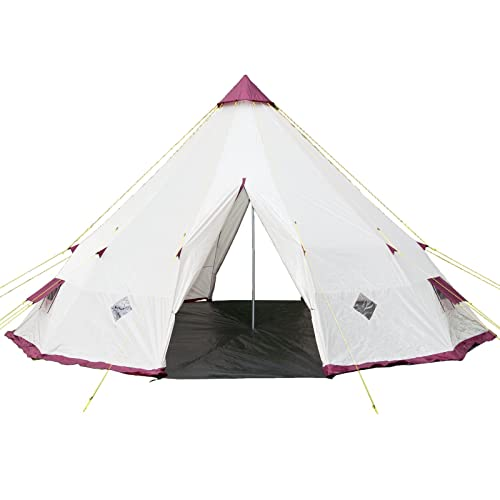 Skandika Tipi Wigwam Style Indiana Pyramide Desert Tente, Colonne d'eau de 3000mm, Beige/Bordeaux