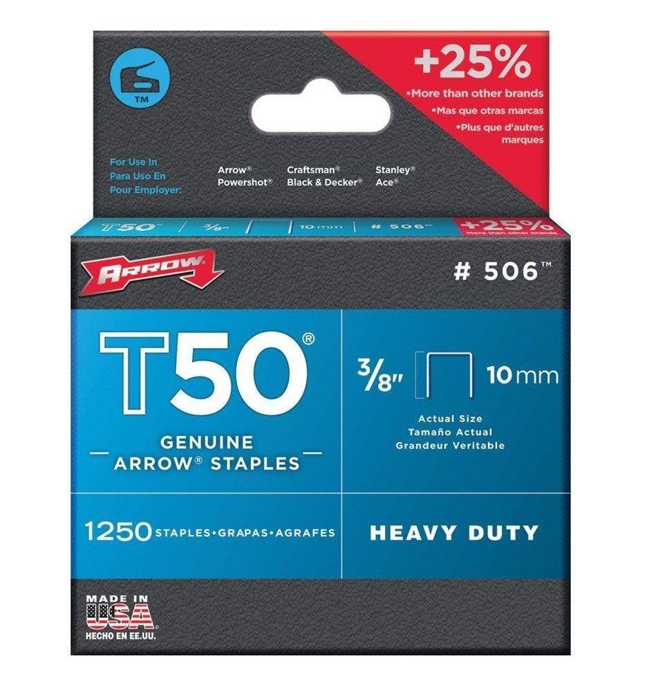 Arrow Fastener 506 Genuine T50 3/8-Inch Staples, 1250-Pack ...