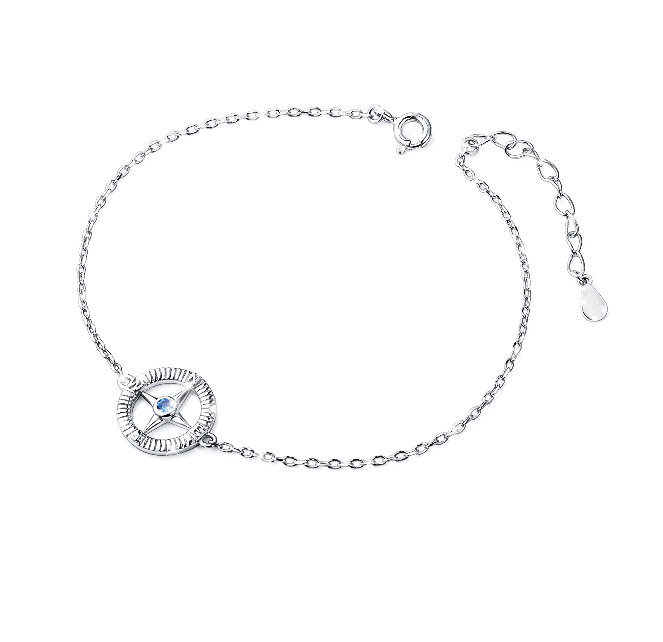 S925 Sterling Silver Compass No Matter Where Bracelet
