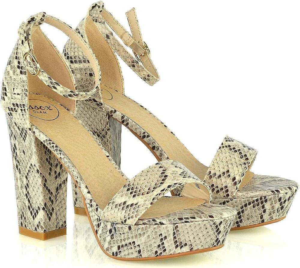 Details about  /Womens Peep Toe Platform Ankle Strap Sandals Ladies 13cm Block Heel Party Shoes