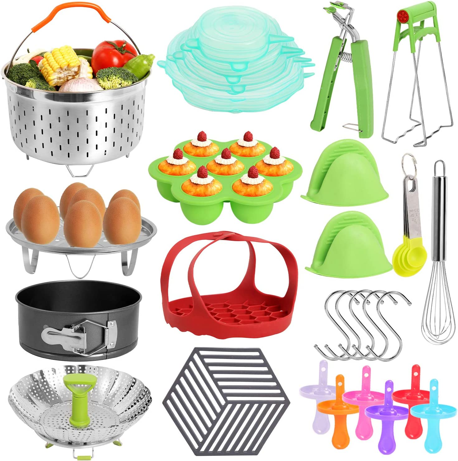 Instant Pot,Pressure Cooker5/6/8 quart 27Accessories,Steamer Baskets,Ninja Foodi Air Fryer, Egg Bites,Silicone molds for Sling Bakeware Lifter,Muffin,Kitchenette Cooking Tong,Non-stick,Freshness lid