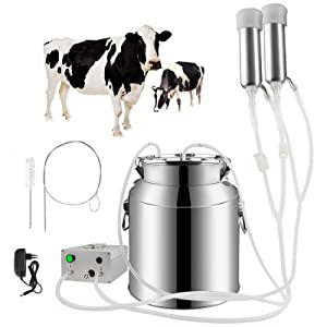 Portable Cow Milking Machine, 7L/14L Pulsation Vacuum Pump Milker w/Rechargeable Battery, Electric Livestock Milking Equipment w/Food-Grade Bucket, Auto-Stop Milking Machine for Cows