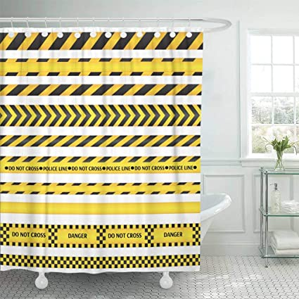 Emvency Fabric Shower Curtain With Hooks Construction Yellow Black Police Line And Danger Tapes Area