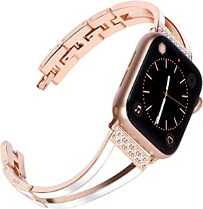 Surace Compatible with Apple Watch Bands 38mm Women Series 3 Cuff Bracelet Replacement for Apple Watch Bands Series 6/5/4 40mm Compatible with Apple Watch SE Band, Rose Gold Bangle with White Enamel