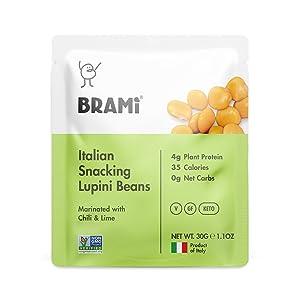 BRAMI Lupini Beans Snack, Mini | 4g Plant Protein, 0g Net Carbs | Vegan, Vegetarian, Keto, Plant Based, Mediterranean Diet, Non Perishable | 1.06 Ounce (8 Count) (Chili & Lime)