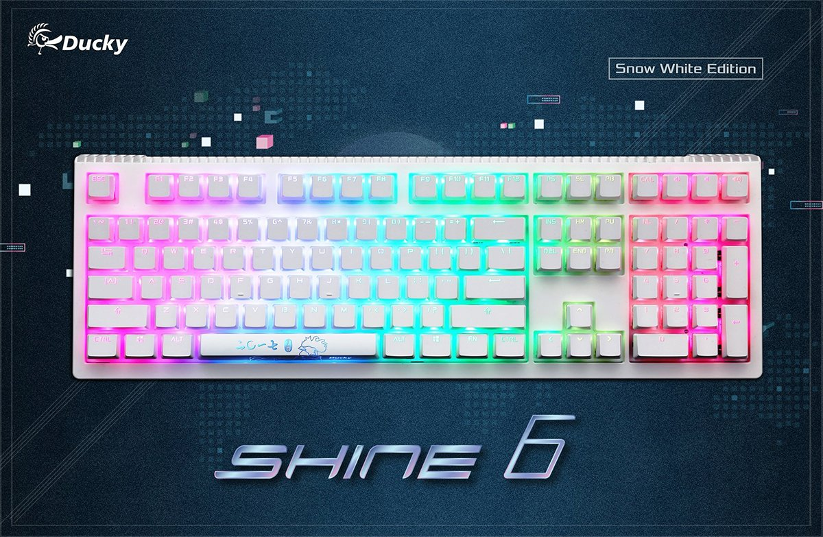 Amazon com: Ducky Shine 6 Snow White Edition RGB Backlit