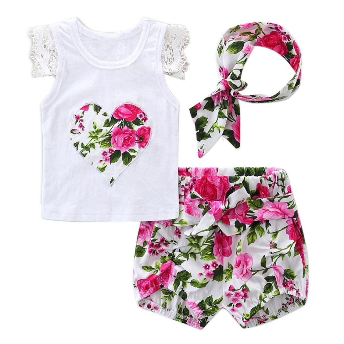 Vestidos Bebé,Switchali Recién nacido Bebé Niña flor Encaje Tops Camiseta+Pantalones cortos+
