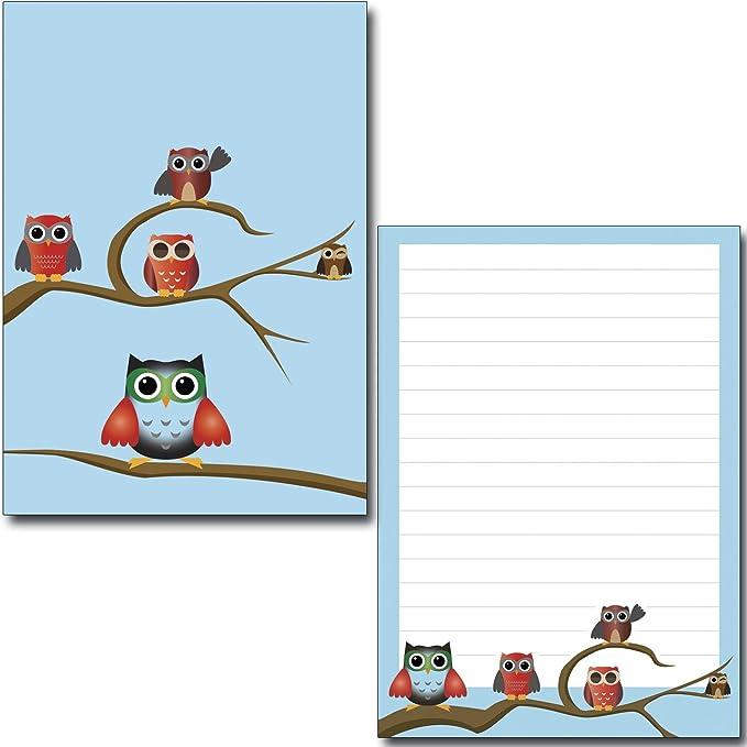 Briefumschl/äge Briefpapier-Mappe Eulen blau Set 45-teilig Briefpapier Schreibblock Postkarten