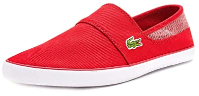 7471918a0 Lacoste Marice 318 1 CAM Canvas Slip ONS Trainers in Red 736CAM0051 RR1  UK  8