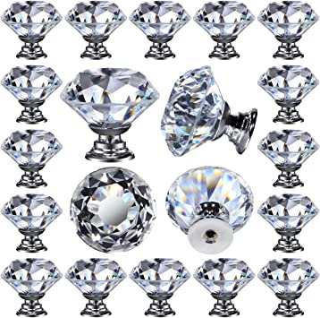 small crystal cut clear glass drawer cupboard pulls door knobs FREE POSTAGE x 8