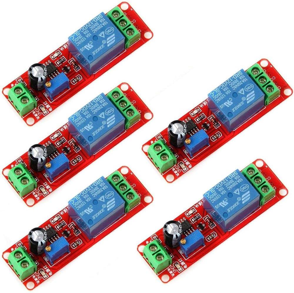 DollaTek 5Pcs NE555 12V DC Ajustable 0-10 Segundo Temporizador Temporizador de Retransmisión Interruptor Módulo de Interruptor para Arduino Raspberry Pi