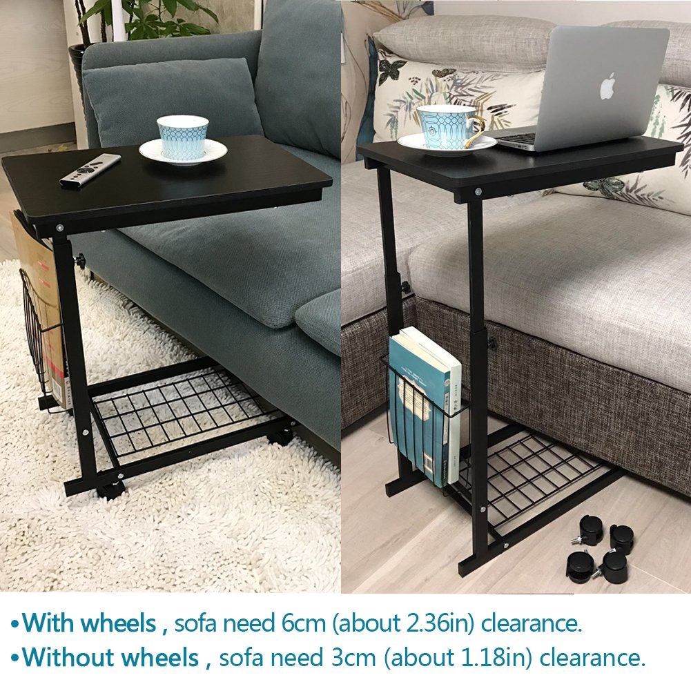 Amazon com micoe height adjustable with wheels sofa side table slide under adjustable console table with storage for entryway hallway kitchen dining