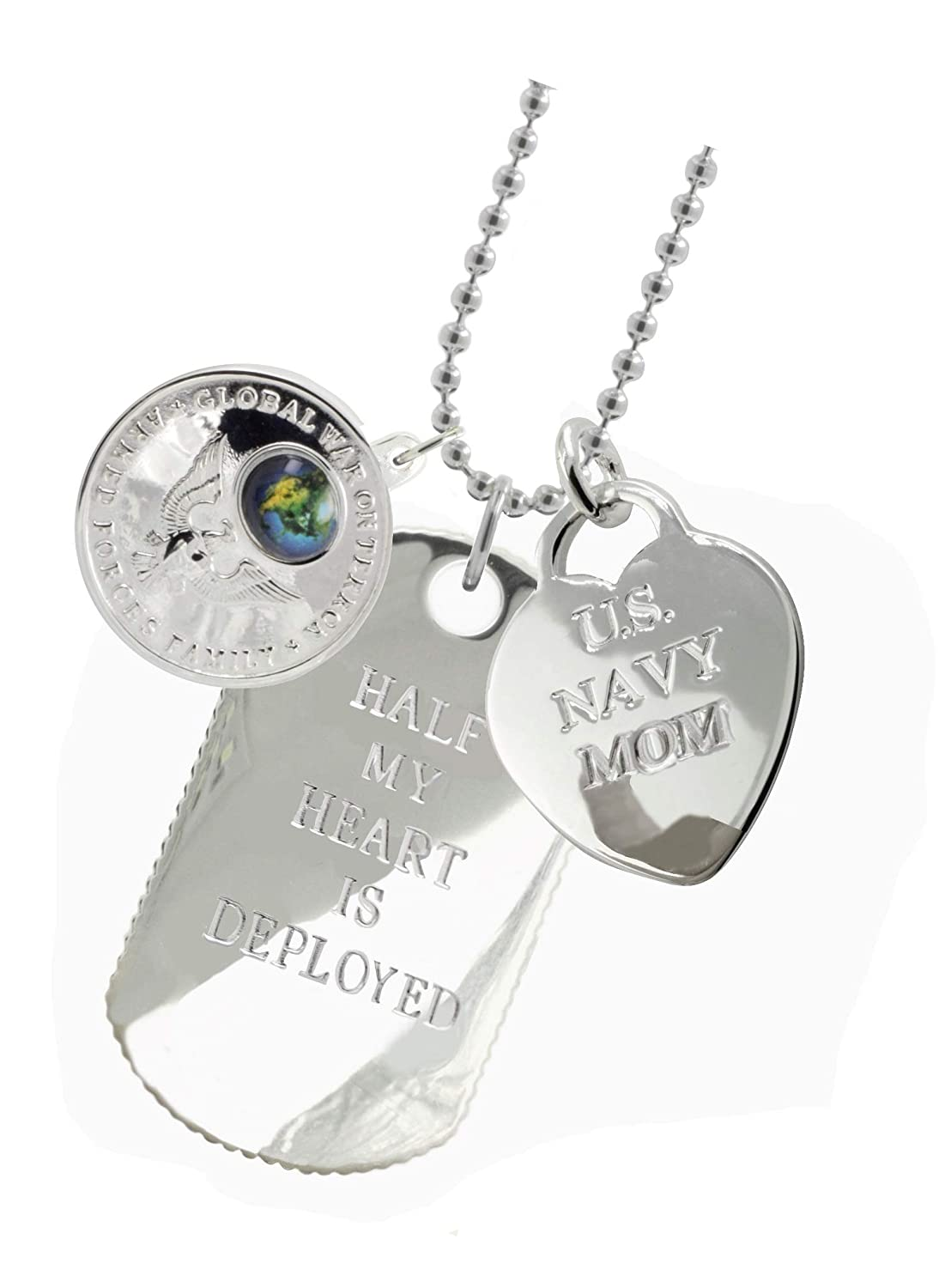 Plated Navy Mom Dog Tag MF