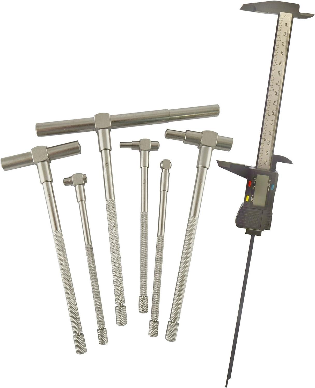 6pc Gauge Depth Bore Hole Cylinder 5//16-6 /& Digital Electronic Vernier Caliper