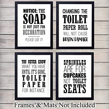 Cute Bathroom Wall Art Print Typography - Set of Four (8x10) Unframed Photos - Makes a Great Gift for Home Decor