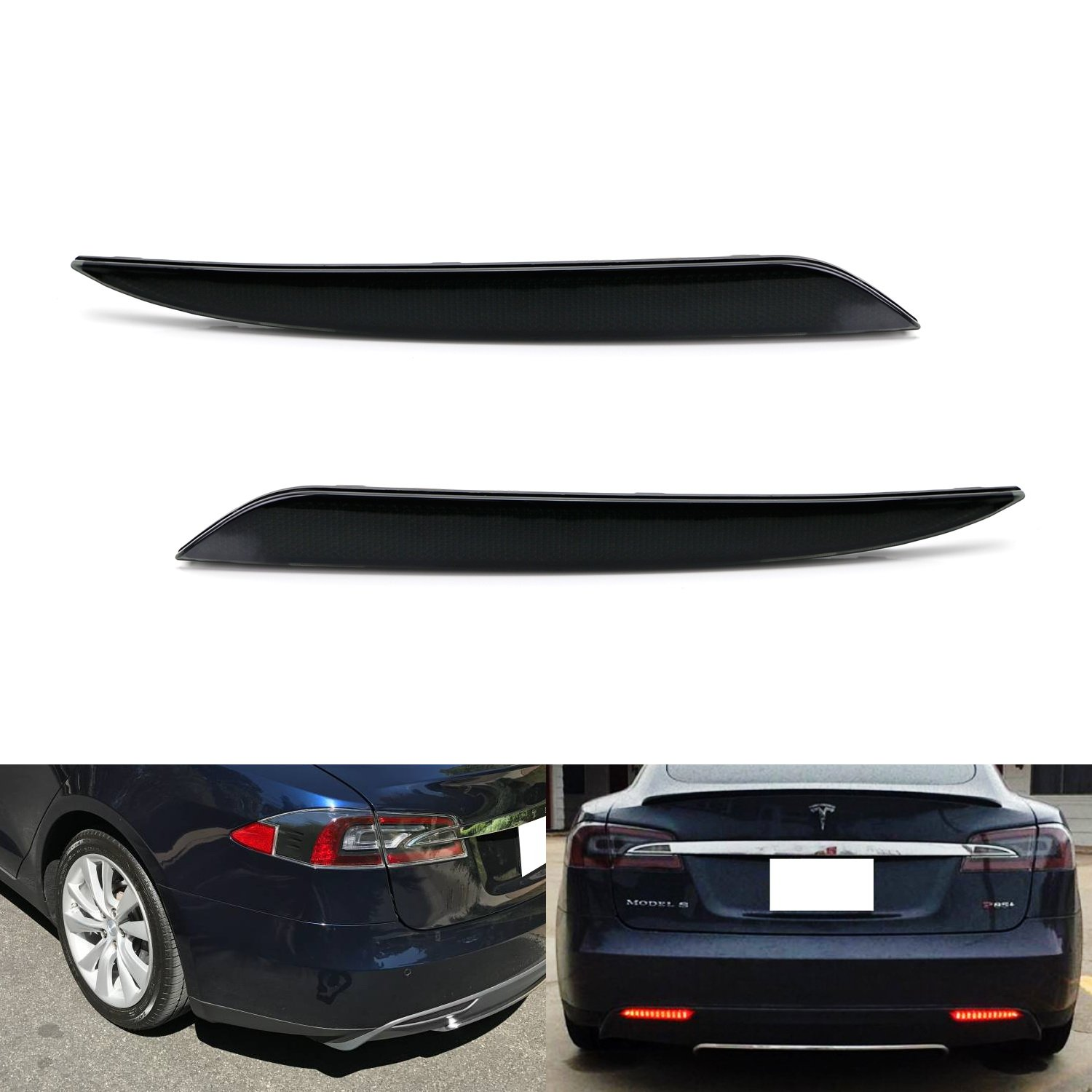 iJDMTOY Smoked Lens 24-SMD LED Bumper Reflector Lights For 12-up Tesla Model S, Function as Tail, Brake & Rear Fog Lamps
