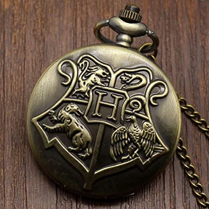 Amazon.com: Bronze Copper Harry Potter Hogwarts School of Witchcraft Wizardry Quartz Pocket Watch for Men Women Children: Watches