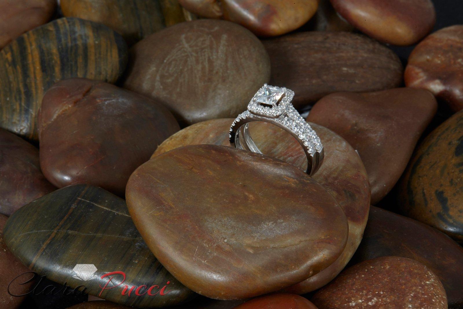 Clara Pucci 1.60 CT Princess Cut CZ Pave Halo Bridal Engagement Wedding Ring Band Set 14k White Gold, Size 8.5 by Clara Pucci (Image #3)