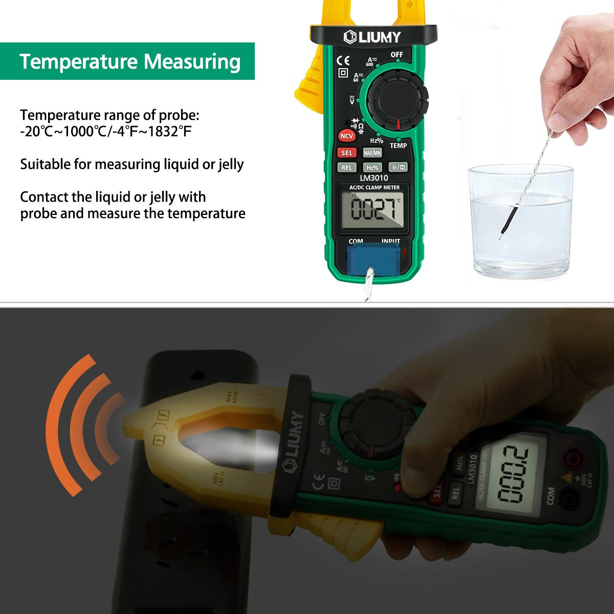 Digital Clamp Meter, LIUMY Auto-Ranging AC/DC Clamp Multimeter with Analog Function, NCV, Work Light/ Memory peak, Non- contact Voltages/ Frequency/ Resistance/ Capacitance/ Connections/ Diodes by Liumy (Image #4)