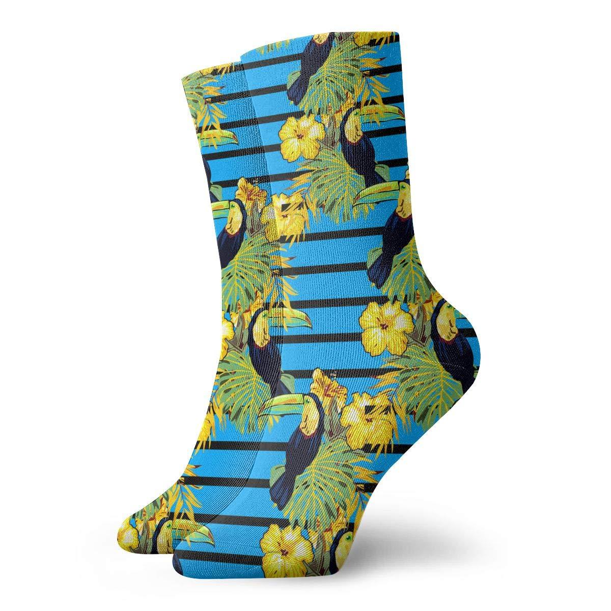 Pair Of Birds Toucan On Branch Tropical Tree Against The Sky Fashion Dress Socks Short Socks Leisure Travel 11.8 Inch