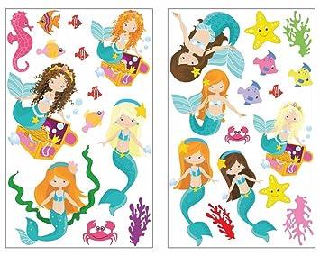 Plot4u 28 Teiliges Meerjungfrau Und Tiere Wandtattoo Set H2o Madchen