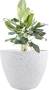 Large Planter Pot Indoor Outdoor - 14.2 Inch Tree Planter Flower Pot, Planters Container with Drain Holes (Speckled White)