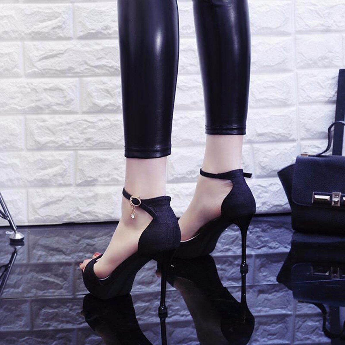 JRFBA-Damenschuhe Sommer hochhackigen Schuhe mit dünnen wasserdicht wasserdicht schnallen, sexy sexy sexy Schwarze Sandalen, Damenschuhe.  4a3de5