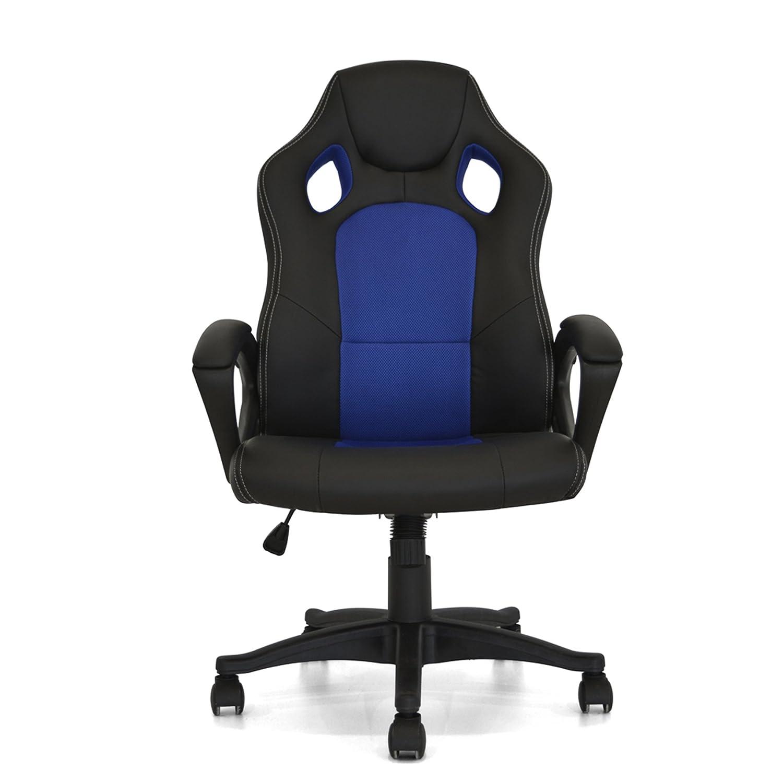 Your Office - Silla de Oficina Coach, Polipropileno, Piel sintética, Textil, ngero/Azul: Amazon.es: Hogar