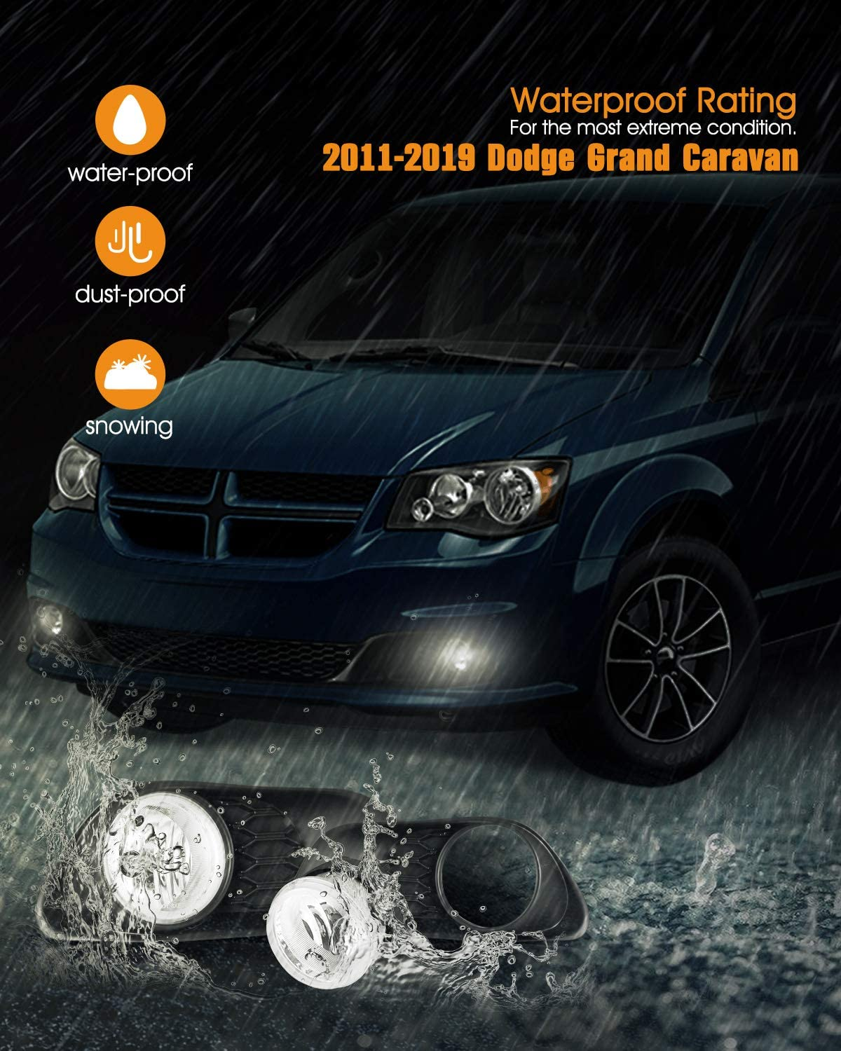 1 Pair Fog Lights for 11-19 Dodge Grand Caravan with Bulbs H10 12V42W AUTOFREE Fog Lamps Assembly Wiring Kit /& Switch Included Clear Lens