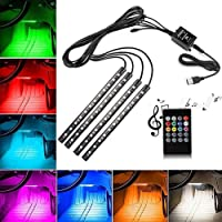 bester Car LED Strip Lights, 4pcs 48 LED Multicolor Car Interior Music Light LED Under dash Lighting Kit Waterproof Wireless Remote Control, Car LED Light Accessories DC 12V