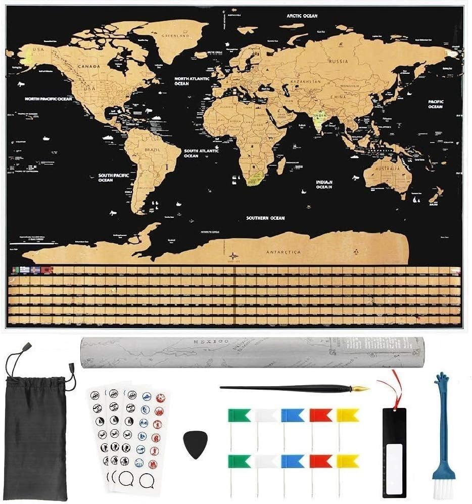 BUZIFU Mapa Mundi Rascar Mapa de Mundo 82,5 x 59,4cm Gran Tamaño Póster Mapa con 18 Accesorios, Regalo para Los Amantes del Viaje, Rasca los Países/Islas/Ciudades Visitados, para Grabar los Aventuras: Amazon.es: