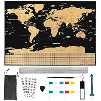 Buzifu world scratch map with 18pcs scratch map accessories xxl buzifu world scratch map with 18pcs scratch map accessories xxl deluxe black scratch off world map gumiabroncs