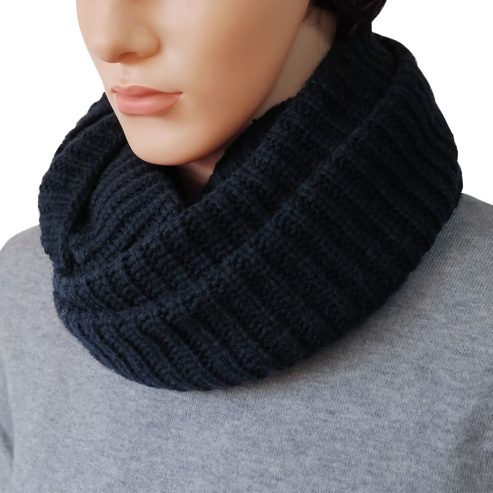 DELUXSEY Mens Extra Warm Wide Infinity Scarf (Navy) - Winter Scarf for Men