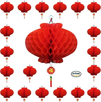 Red Chinese Hanging Paper Lanterns Party Decor 6 Pieces