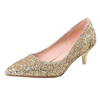 1a3fdb48d9 Amazon.com | Vitalo Women's Glitter Kitten Heel Court Shoes Ladies Pointed  Toe Sparkly Wedding Pumps | Pumps