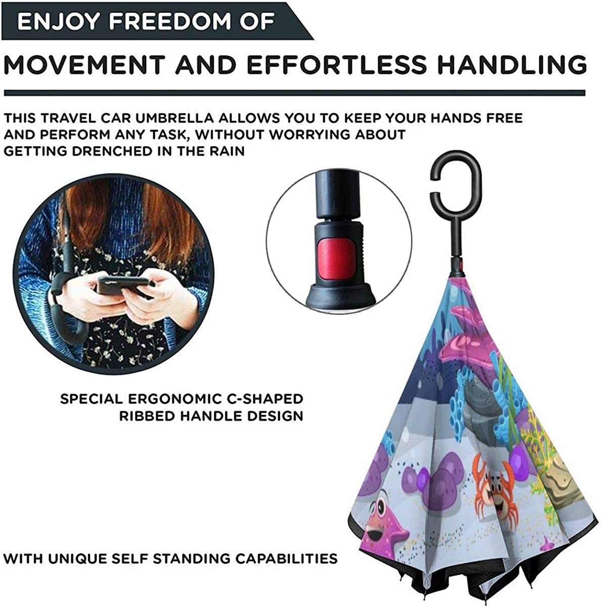 Reverse Umbrella Double Layer Inverted Umbrellas For Car Rain Outdoor With C-Shaped Handle Marine Habitats Coral Reefs Anemones Fish And Marlin Fish Customized