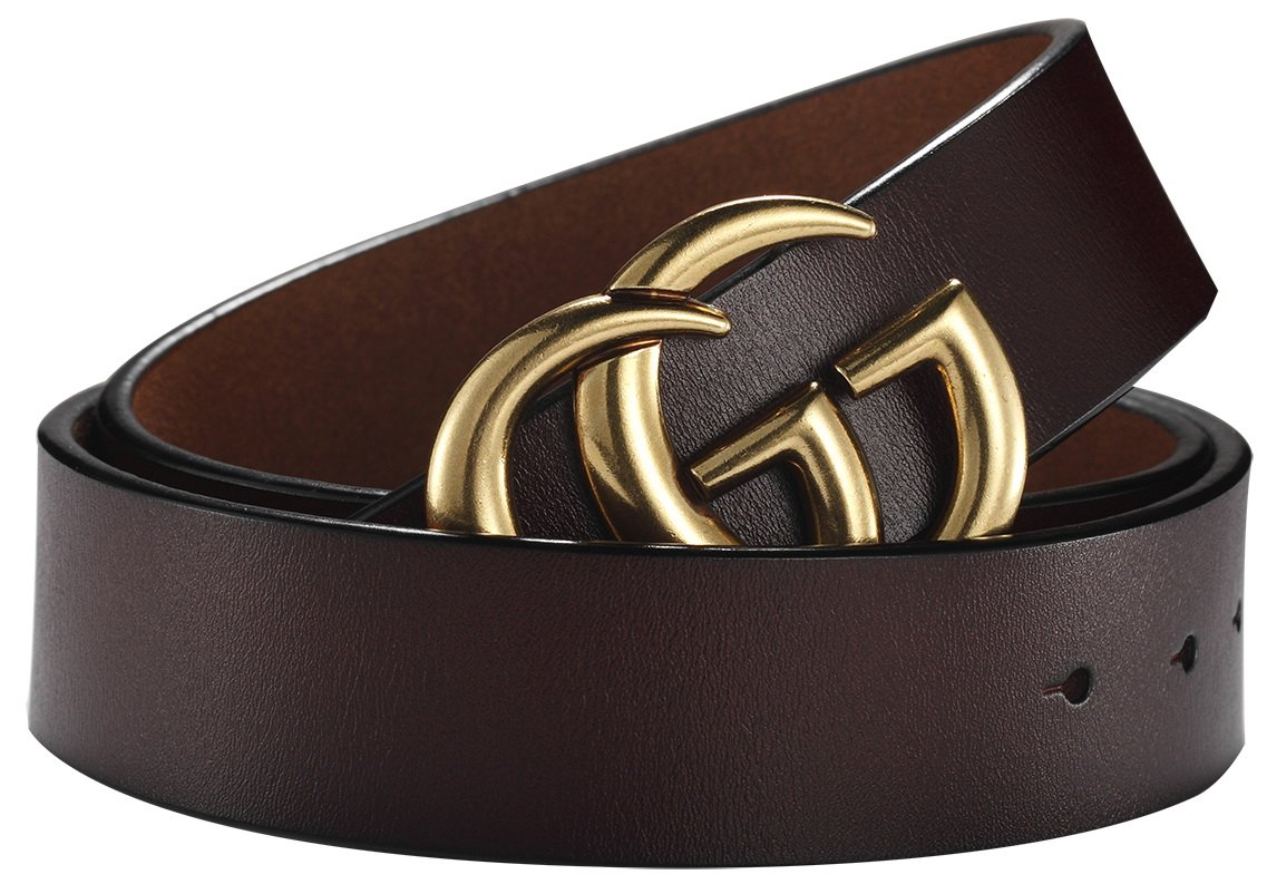 Fashion G-Style Gold Buckle Unisex Belt for Men or Women [3.8cm Belt Width] (110cm (Waist 32''~38'' or Below), Coffee)